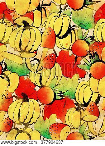 Pumpkins With Leaves, Mushrooms And Berries In Autumn, Digital Watercolor Painting