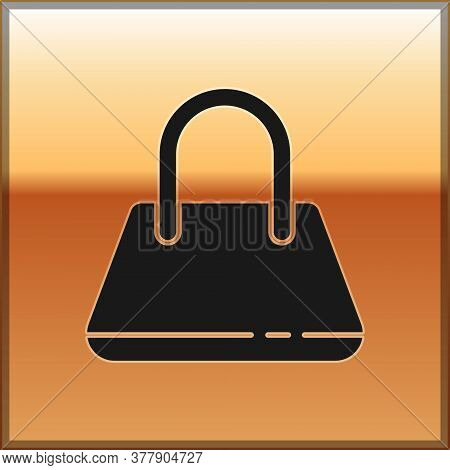 Black Handbag Icon Isolated On Gold Background. Female Handbag Sign. Glamour Casual Baggage Symbol.