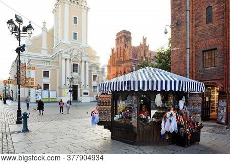 Torun, July 13: Souvenir Shop Selling Traditional Polish Handicraft Souvenirs On July 13, 2020 At To