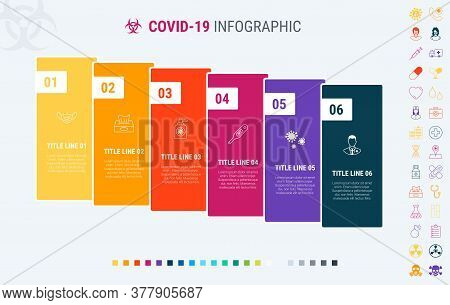 Vector Covid-19 Infographics Timeline Design Template With Graph Elements. Content, Schedule, Timeli