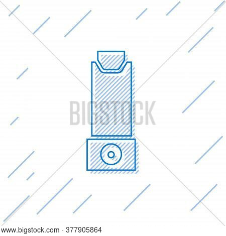 Blue Line Inhaler Icon Isolated On White Background. Breather For Cough Relief, Inhalation, Allergic