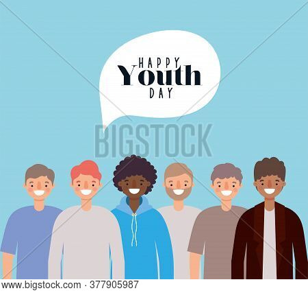 Men Cartoons Smiling Of Happy Youth Day Design, Young Holiday And Friendship Theme Vector Illustrati