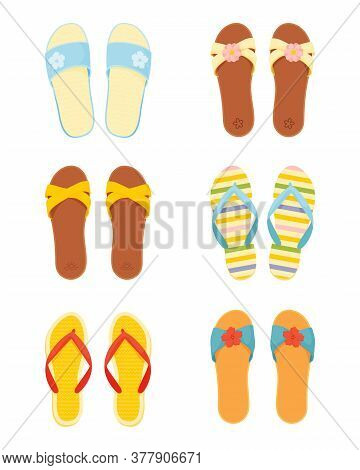 Leather And Silicone Summer Slippers Vector Set. Women's Beach Slippers And Flip Flops In Flat Style