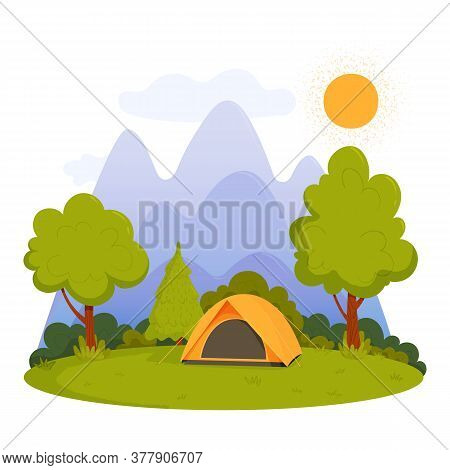 Summer Camping. Sunny Day Landscape With A Tent, Mountains, Forest And Sun. Vector Illustration In C