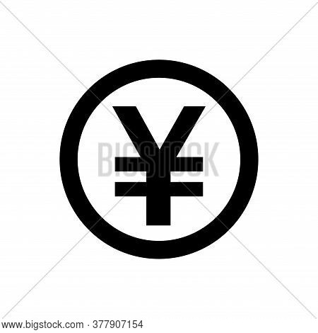 Yen Currency Coin Black For Icon Isolated On White, Yen Money For App Symbol, Yen Money Financial Co
