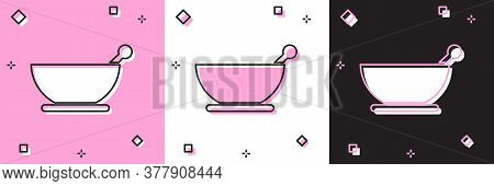 Set Mortar And Pestle Icon Isolated On Pink And White, Black Background. Vector Illustration