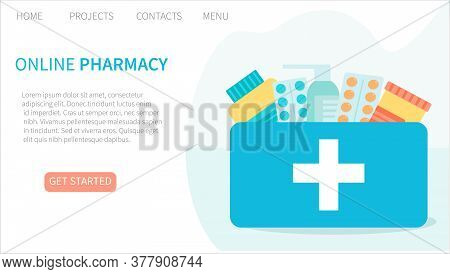 Online Pharmacy Landing Page Website Template. Buying Medicine Online. Medical Service. Delivery Of
