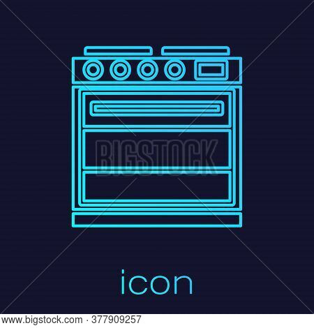 Turquoise Line Oven Icon Isolated On Blue Background. Stove Gas Oven Sign. Vector Illustration