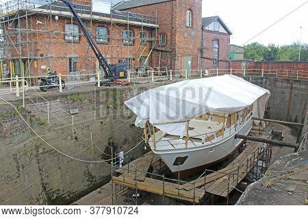 Boat In Dry Dock At Gloucester Docks, England