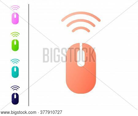 Coral Wireless Computer Mouse System Icon Isolated On White Background. Internet Of Things Concept W