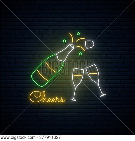 Champagne Neon Sign. Glowing Champagne Explosion And Two Goblets. Christmas Party Or Celebration Des