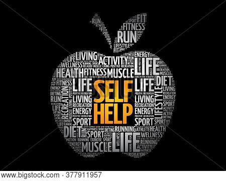 Self Help Apple Word Cloud, Health Concept