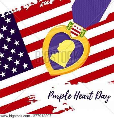 Vector Template Card Purple Heart Day. Badge And Purple Ribbon On Us Flag Background. Celebrate Hono