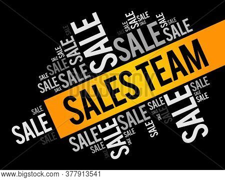 Sales Team Word Cloud Collage, Business Concept Background