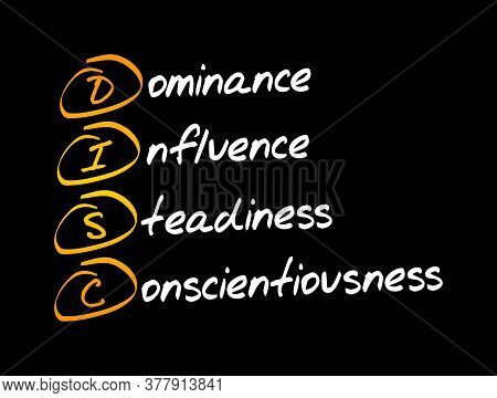 Disc, Dominance, Influence, Steadiness, Conscientiousness, Acronym - Personal Assessment Tool To Imp