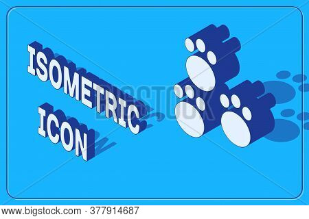 Isometric Paw Print Icon Isolated On Blue Background. Dog Or Cat Paw Print. Animal Track. Vector