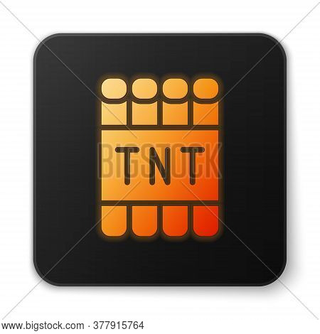 Orange Glowing Neon Detonate Dynamite Bomb Stick And Timer Clock Icon Isolated On White Background.