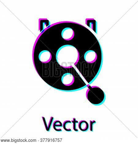 Black Spinning Reel For Fishing Icon Isolated On White Background. Fishing Coil. Fishing Tackle. Vec