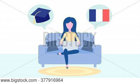 Online French Learning, Distance Education Concept. Language Training And Courses. Woman Student Stu