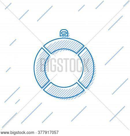 Blue Line Lifebuoy Icon Isolated On White Background. Lifebelt Symbol. Vector