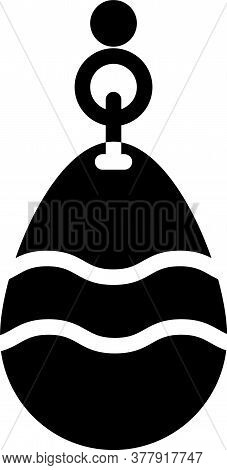 Black Fishing Spoon Icon Isolated On White Background. Fishing Baits In Shape Of Fish. Fishing Tackl