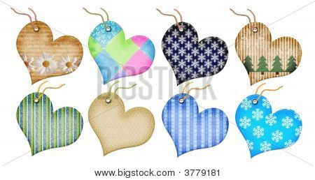 Christmas Gift Tags In The Form Of Heart.