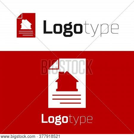 Red House Contract Icon Isolated On White Background. Contract Creation Service, Document Formation,