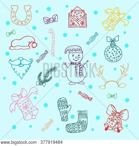 Large Set Of Colored Simple Linear Icons Of Festive New Year S Christmas Things Snowmen, Toys, Bells