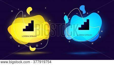 Black Staircase Icon Isolated On Black Background. Abstract Banner With Liquid Shapes. Vector