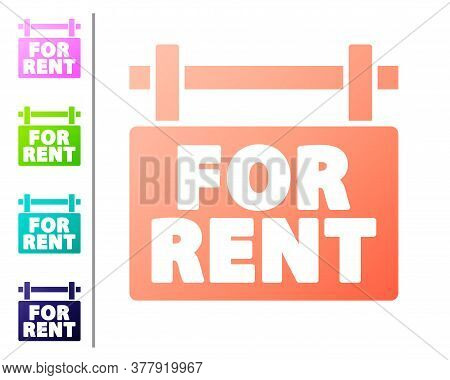 Coral Hanging Sign With Text For Rent Icon Isolated On White Background. Signboard With Text For Ren