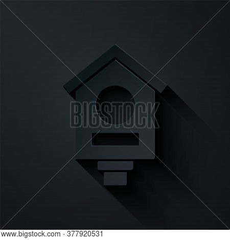 Paper Cut Bird House Icon Isolated On Black Background. Nesting Box Birdhouse, Homemade Building For