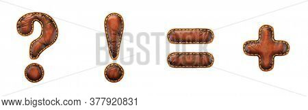 Set of symbols question mark, exclamation mark, equals, plus made of leather. 3D render font with skin texture isolated on white background. 3d rendering