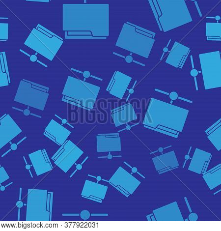 Blue Ftp Folder Icon Isolated Seamless Pattern On Blue Background. Software Update, Transfer Protoco