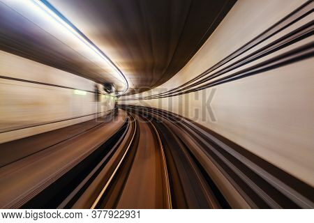 Riding The Metro With Motion Blurred Tube Lines In Tunnel