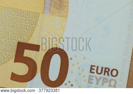 Fifty Euro Banknote Isolated On White Background.