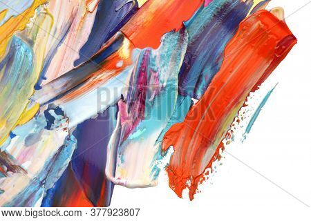 Abstract acrylic and watercolor smear blot painting. Color texture horizontal background.
