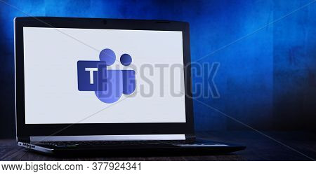 Poznan, Pol - Jul 11, 2020: Laptop Computer Displaying Logo Of Microsoft Teams, A Unified Communicat