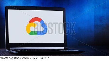 Laptop Computer Displaying Logo Of Google Cloud Platform