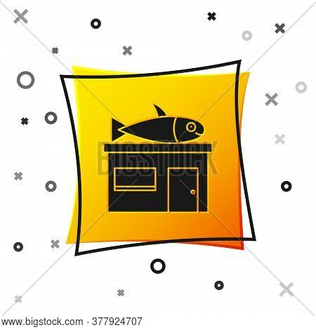 Black Seafood Store Icon Isolated On White Background. Facade Of Seafood Market. Yellow Square Butto
