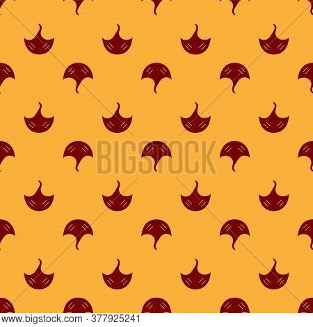 Red Stingray Icon Isolated Seamless Pattern On Brown Background. Vector.