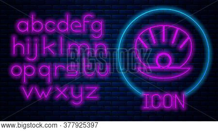 Glowing Neon Natural Open Shell With Pearl Icon Isolated On Brick Wall Background. Scallop Sea Shell