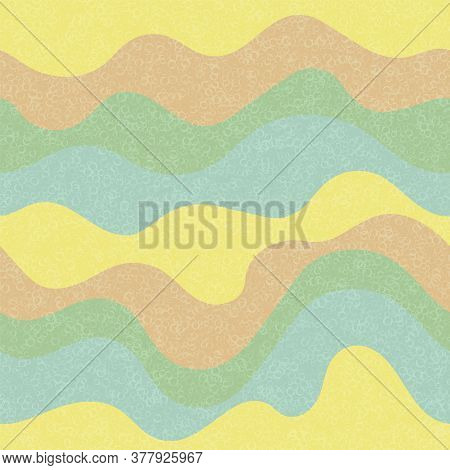 Kids Fashion Wavy Seamless Pattern. Nautical Waves Ripple Doodle Vector. Cute Wavy Stripes Childish