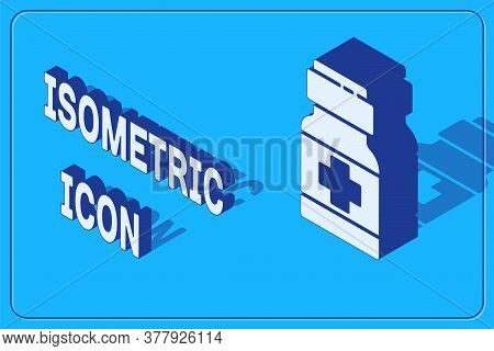Isometric Medicine Bottle And Pills Icon Isolated On Blue Background. Medical Drug Package For Table