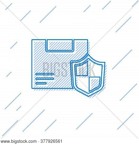 Blue Line Delivery Security With Shield Icon Isolated On White Background. Delivery Insurance. Insur