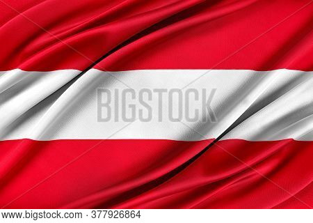 Colorful Austrian Flag Waving In The Wind. High Quality Illustration.