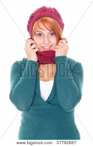 woman with scarf and cap