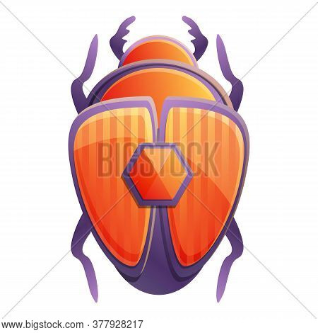 Egypt Scarab Beetle Icon. Cartoon Of Egypt Scarab Beetle Vector Icon For Web Design Isolated On Whit