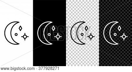 Set Line Moon And Stars Icon Isolated On Black And White Background. Cloudy Night Sign. Sleep Dreams