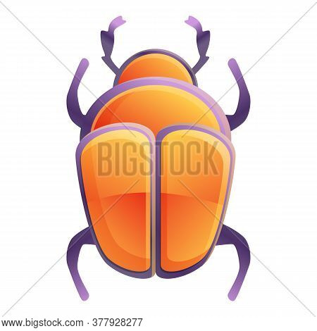 Insect Scarab Beetle Icon. Cartoon Of Insect Scarab Beetle Vector Icon For Web Design Isolated On Wh