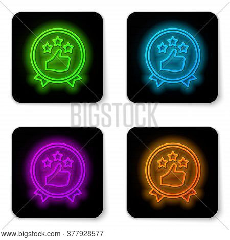Glowing Neon Line Consumer Or Customer Product Rating Icon Isolated On White Background. Black Squar